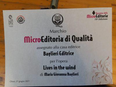 Marchio Microeditoria di Qualità 2021 a Lives in the Wind di M.G. Baglieri